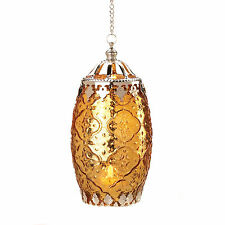 New Amber Filigree Candle Lantern Hanging Tealight Candleholder Patterned Glass