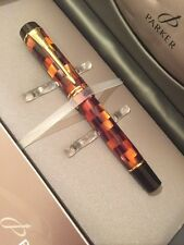 STUNNING PARKER DUOFOLD AMBER CHECK GT DEMI FOUNTAIN PEN-18K GOLD MEDIUM NIB-NEW
