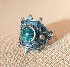 antique handmade ornate sterling silver malachite stone 18k yellow gold ring men