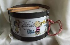 Vintage Peanuts Gang/Snoopy Toy Tin Litho Band Drum complete with sticks,