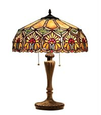 "Tiffany Style Stained Glass Floral 2 Light Table Lamp 18"" Shade Handcrafted New"