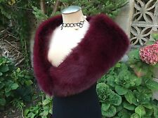 NEW BURGUNDY FOX FUR  SHRUG STOLE SHAWL WRAP Made in the USA