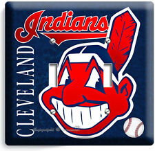 CLEVELAND INDIANS BASEBALL DOUBLE LIGHT SWITCH WALL PLATE COVER SPORT ROOM DECOR