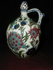 Zsolnay Hungarian Art Pottery Hand Painted Floral Ratting Oil Jug 1884 Hungary