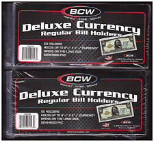 (100) REGULAR  BCW DELUXE CURRENCY SLEEVE BILL  HOLDERS PAPER MONEY SEMI RIGID