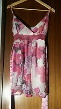 Floaty, pretty, pink summer dress size 6 tie back detail