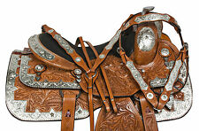 "NEW 16"" SILVER BLINGY PARADE LEATHER WESTERN PLEASURE SHOW HORSE SADDLE TACK SET"