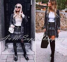 ZARA HOUNDSTOOTH CO-ORD SET BLACK & GREY JACKET & SKIRT 2 PCS M 10 UK 38 EU 6 US