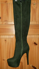 Ladies Knee High Platform Boots Green Size EU 42