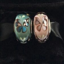 2x Pandora Murano Glass Charm Pink Butterfly blue Butterfly Kisses bead S925 ALE