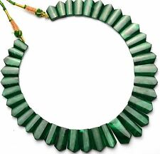 Natural Gem Malachite Super Fine Quality Hand Carved Beads Necklace