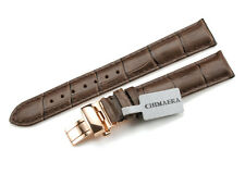 Genuine Leather Croco Strap Rose Gold Deployant Watch Band 14 16 18 19 20 21 22