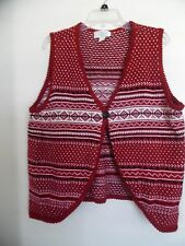 CJ BANKS Maroon Tribal Prints Button Front Sweater Vest Womens Size  1X