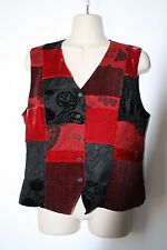 Spencer Jeremy Red and Black 100% SilkVelveteen Button Down Vest Womens Size M
