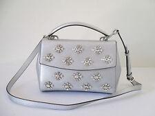 New Michael Kors Ava Small Silver Leather Satchel Purse $328.00