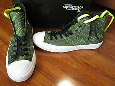 NEW Converse Chuck Taylor All Star II Knit Hi Shoes MEN 9 Black/Volt 151086C $85