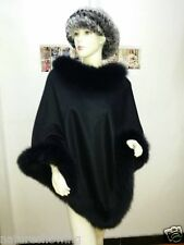 Opulent Lady Real Cashmere Genuine high quality Fox Fur Cloak Poncho/coat/Black