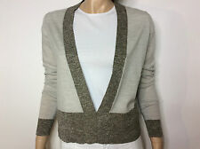 ALLSAINTS light grey wool & linen V-neck sweater with contrasting borders