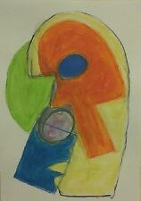 CUBIST THEATRE MASK NIGEL WATERS ORIGINAL PAINTING A3 PAPER ABSTRACT SIGNED