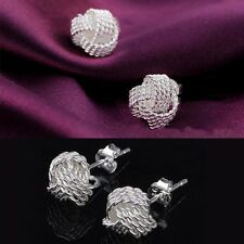 Unique Braid Knot Design 925 Silver Plated Stud Earrings Women Girl Jewelry Gift