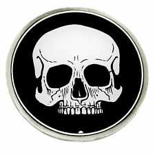 Skull Belt Buckle Circular Flat 2D Black & White Gothic Great American Products