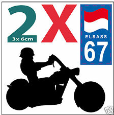 2 stickers autocollants style plaque immatriculation moto Département 67 ELSASS