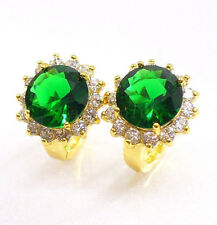 Women Vintage 24K Yellow Gold Plated Green CZ Cubic Zirconia Snap Hoops Earrings