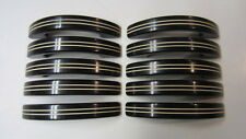 10) Vintage Art Deco Black & White Striped Bakelite Drawer Handles / Pulls