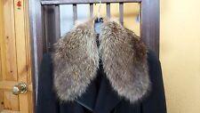 Vintage brown real fox fur collar scarf wrap trim strip shawl for jacket coat