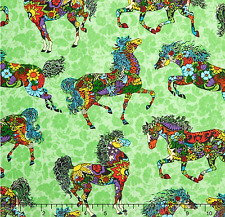 PAINTED PONIES Green Quilting Treasures 100% cotton fabric by the yard
