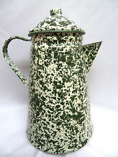 Olive Green Spatter Splatter Enamel Ware Tin Cowboy Camping Coffee Pot ~ 11 Cups