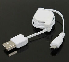 White Micro-USB Sync & Charging Retractable Data Cable