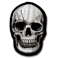 Head Skull White Patch Iron on Tattoo Harley Tribal Biker Motorcycle Badge Sew