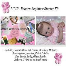 LILLY REBORN Starter Beginner Kit, Genesis paints, Mohair, BODY, DVD, DIY DOLL