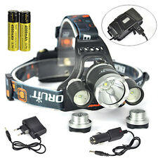 12000lm XM-L T6+2R2 3xLED USB faro lámpara Head Light 2x18650 + Car/ EU cargador