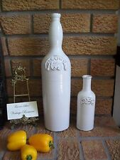 "Acqua & Oil Pottery Ceramic Bottles 16.5"" & 8"" Rustic Shabby Flair Italian NEW"