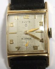 VINTAGE 1950'S MEN'S ELGIN USA MODEL 732 WINDING SQUARE WATCH 19 JEWELS