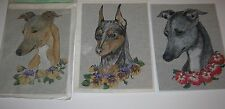 "Lot of 3 Hand-painted Needlepoint Canvas by Hot Diggity Dog POTRAITS Each 9""x12"""
