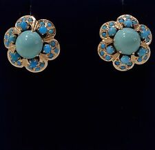 Vintage Turquoise Large Cluster Stud Earrings in 14ct Rose Gold - Screw On