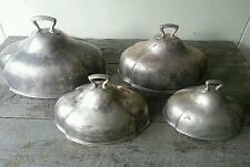 Set of FOUR Graduated Antique Hotel Silver Food Domes