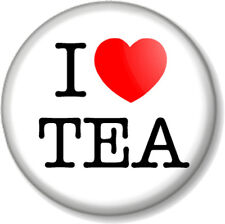 "I Love / Heart TEA 1"" 25mm Pin Button Badge favourite hot drink brew caffeine"