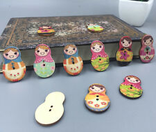50pcs Wooden Sewing Button Scrapbooking Russian Dolls At Random 2 Holes 30mm