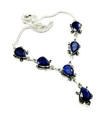 Stylish Design! Natural Top Blue Sapphire Gemstone 925 Silver Plated Necklace