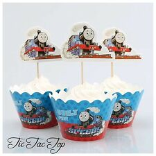 12 pcs Thomas Train Cupcake Toppers + Wrappers. Party Boy Cake Jelly Cup