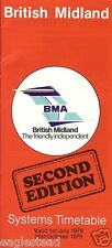 Airline Timetable - British Midland - 01/07/79 - 2nd Edition