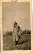 Old Vintage Photograph Woman Wearing The Coolest Outfit Standing in Field