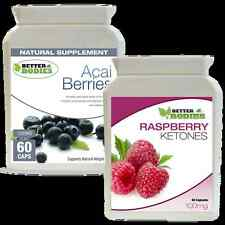 60 Raspberry Ketone capsules 60 Acai Berry Colon Cleanse Combo Diet Pills Pack