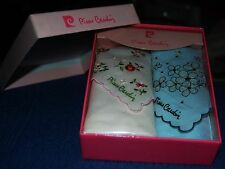 Vintage New Pierre Cardin Ladies Box Set Of (2) Handkerchiefs Embroidered Floral