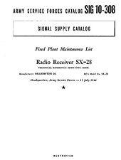 HALLICRAFTERS SX-28 Super Skyrider Maintenance List