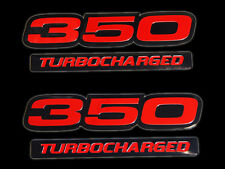 VMS 2 CHEVY 350 TURBOCHARGED ENGINE BLOCK ALUMINUM EMBLEMS RED BLACK PAIR SBC